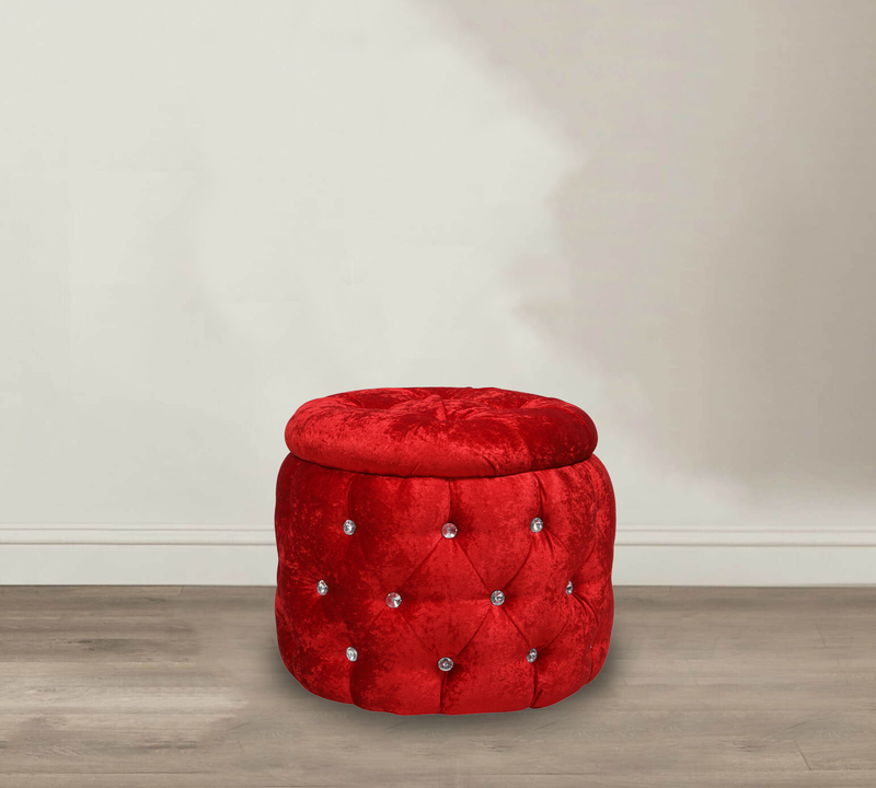 Fully cushioned velvet pouffe with wooden base
