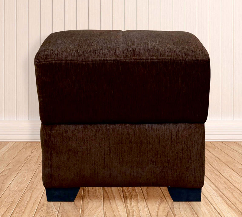 Fully Cushioned Cotton Fabric Pouffe with Wooden Legs
