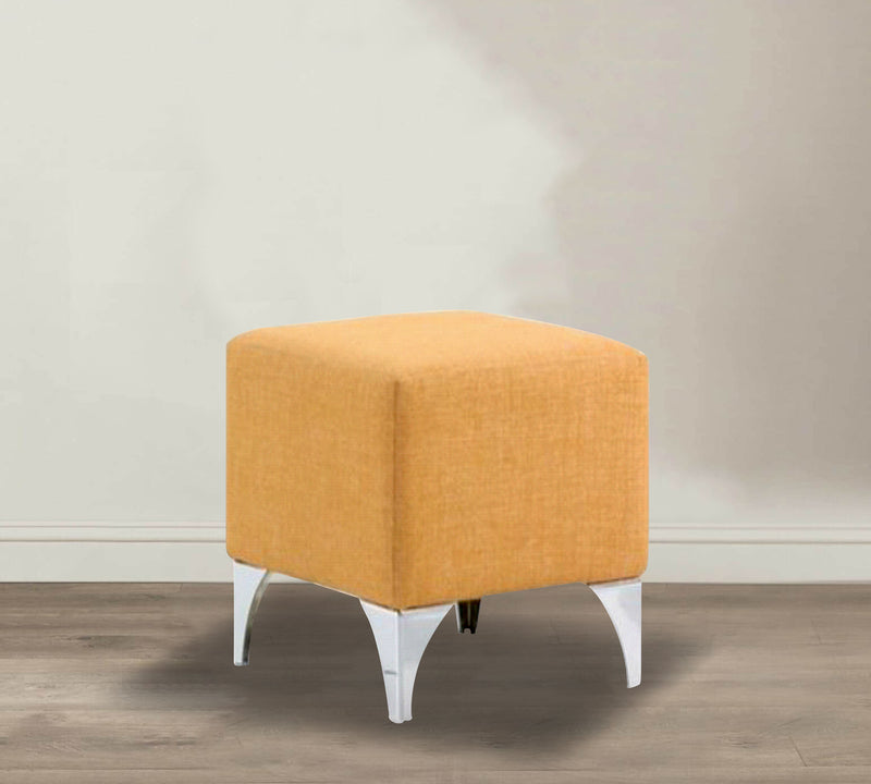 Fully cushioned cotton fabric pouffe with chrome legs