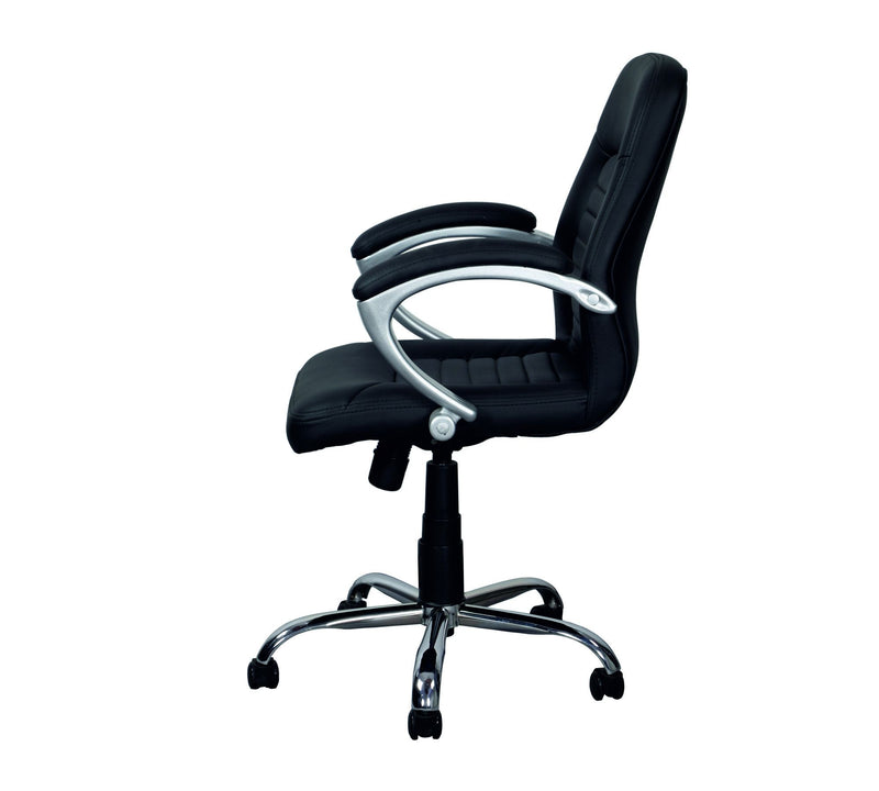 Med Back Leatherette Office chair with chrome base