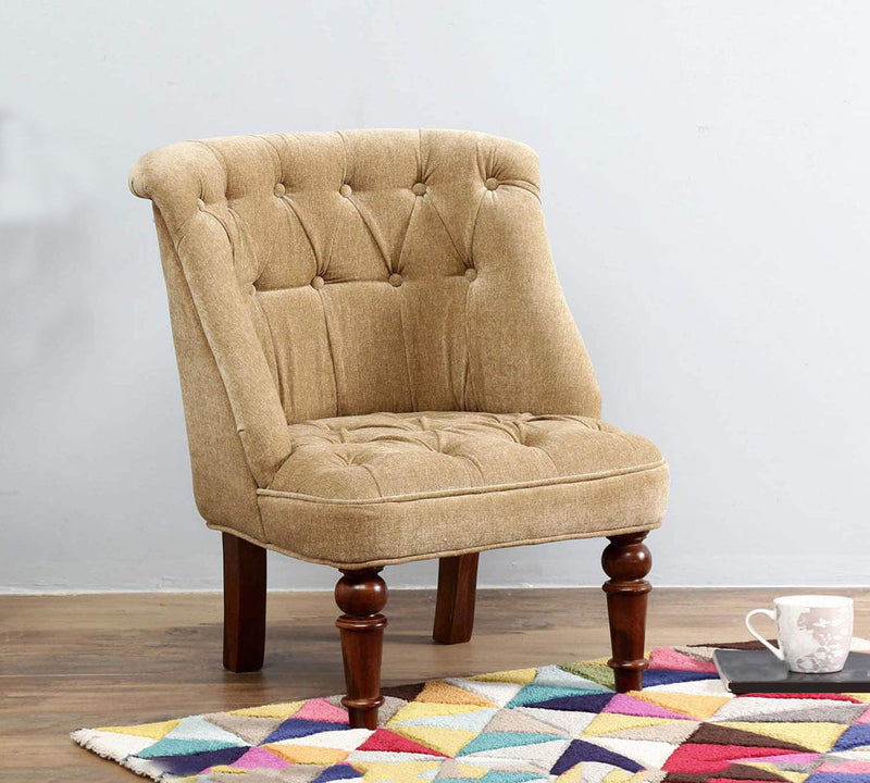 Fully Cushioned Velvet Lounge Chair with Wooden Legs