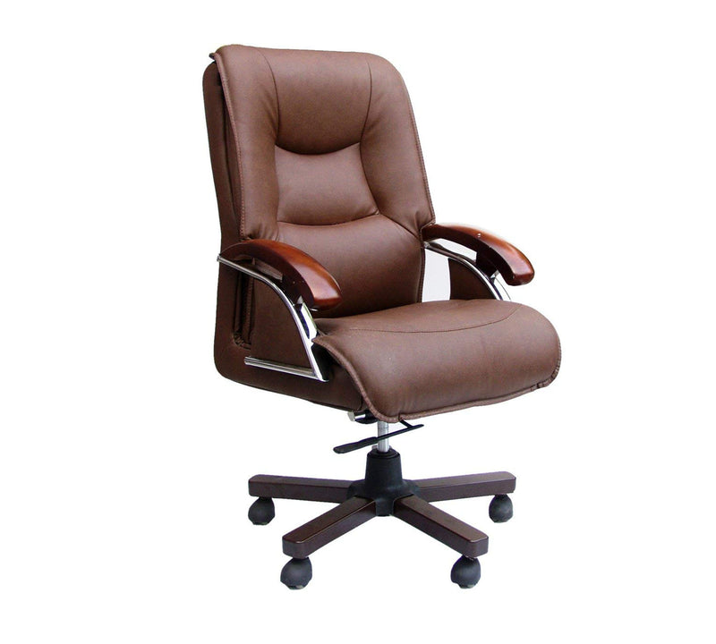 PU Leatherette Office Chair with Wooden base with Polish
