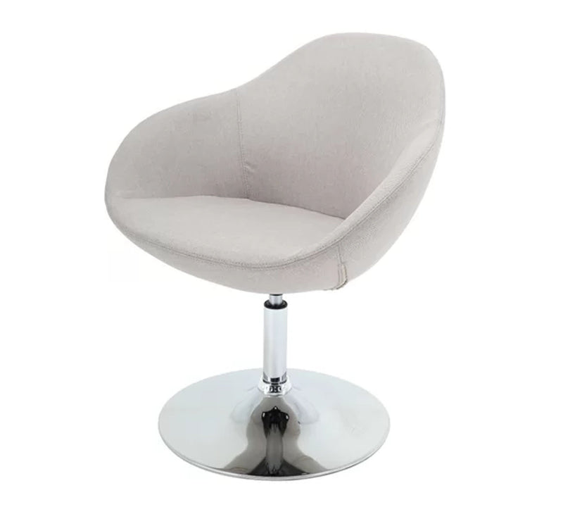 Fully Cushioned Velvet Lounge Chair with Chrome Base