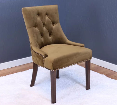 High back Wooden dining chair with designer quilting