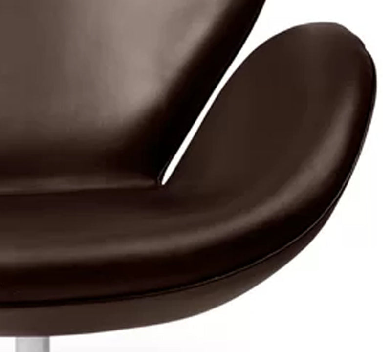 Fully Cushioned Leatherette Lounge Chair with Stainless Steel Base