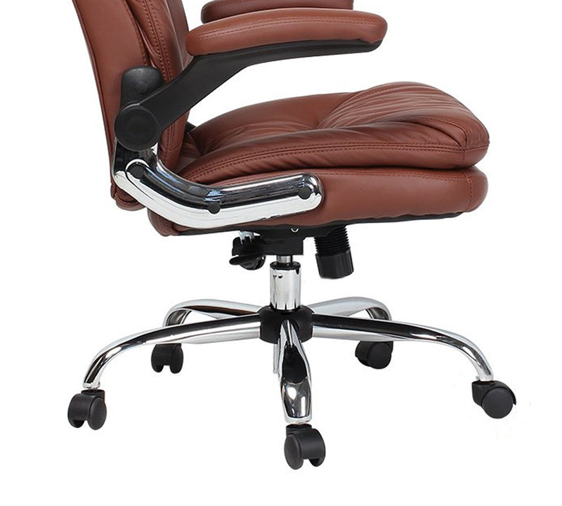 High back leatherette director chair with chrome base and adjustable armrest