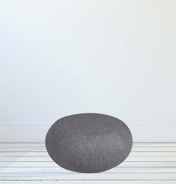 Fully Cushioned Cotton Fabric Pouffe with Wooden Base