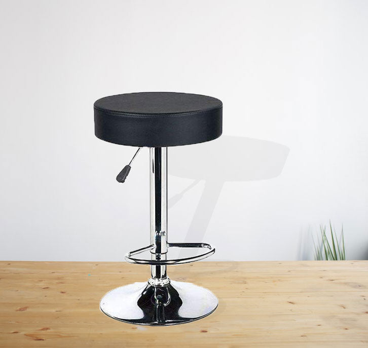 Chrome base barstool with metal frame