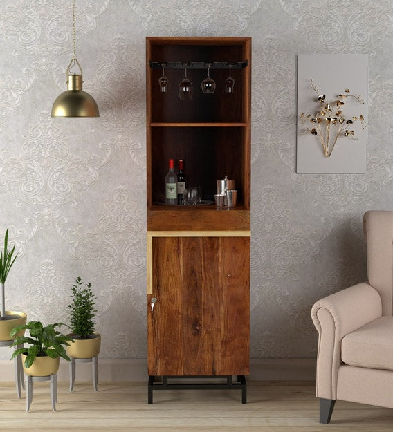 Wooden Bar cabinet with metal base