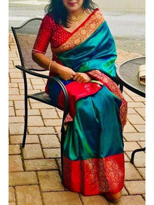 teal and red soft silk saree for women