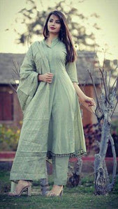 Mint Green Hand Embroidered salwar suit