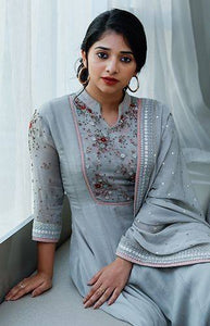 GREYISH BLUE COTTON ANGRAKHA SUIT