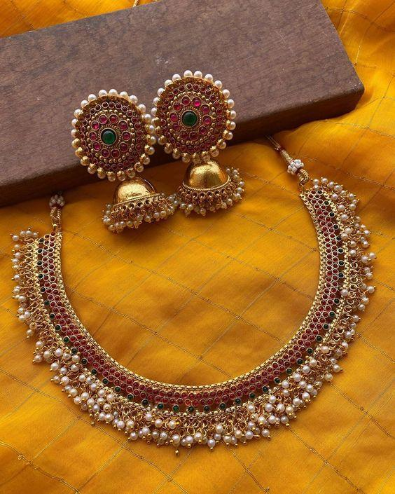 Antique Finish Pearl Necklace And Jhumkas
