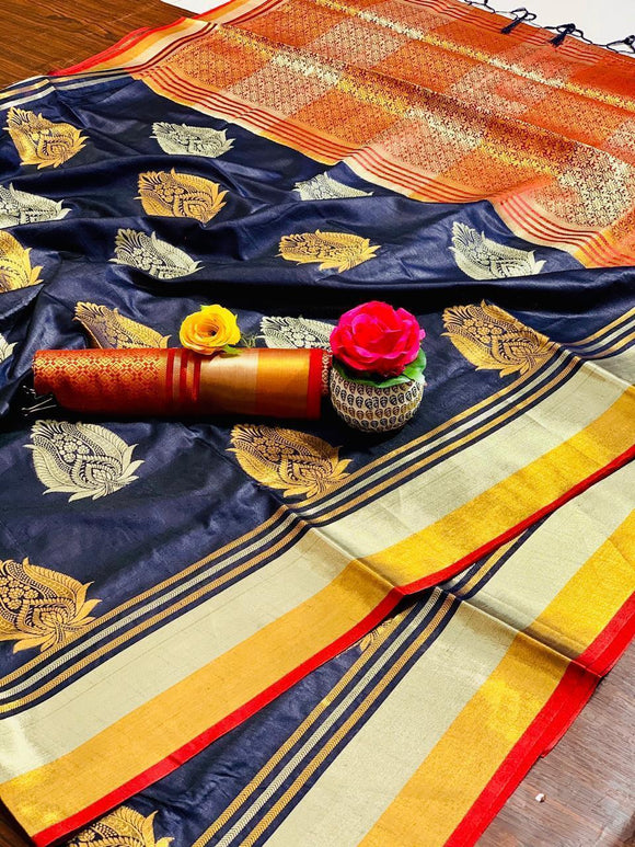 BLUE COLOUR ORANGE SHADE WITH BEAUTIFUL AND ATTRACTIVE SAREE FOR WOMEN'S