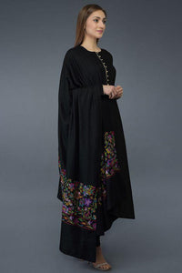 Black Kani Art Embroidered Dupatta with Suit