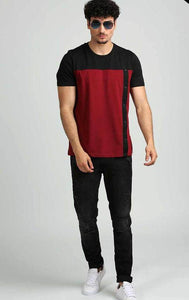 Black and Maroon Front Button Design T Shirt