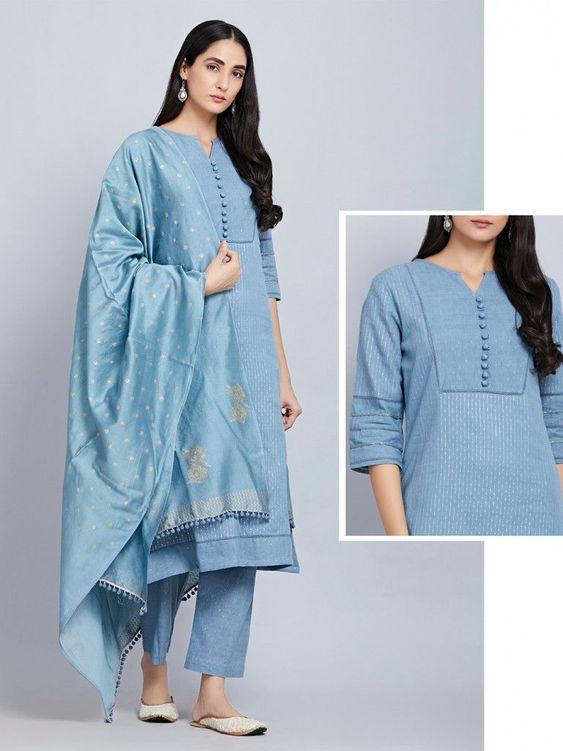 Blue Cotton Striped Kurta with Pants and Hand Block Printed Chanderi Dupatta- Set of 3