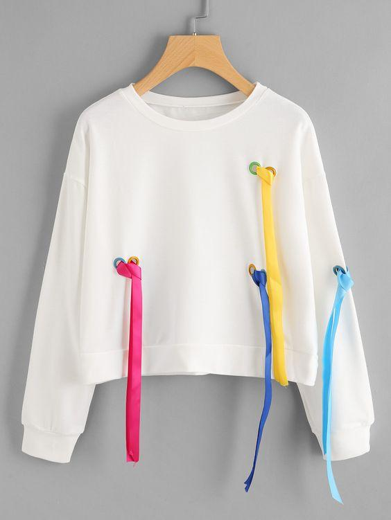 Drop Shoulder Ring Detail Colorful Strap Sweatshirt