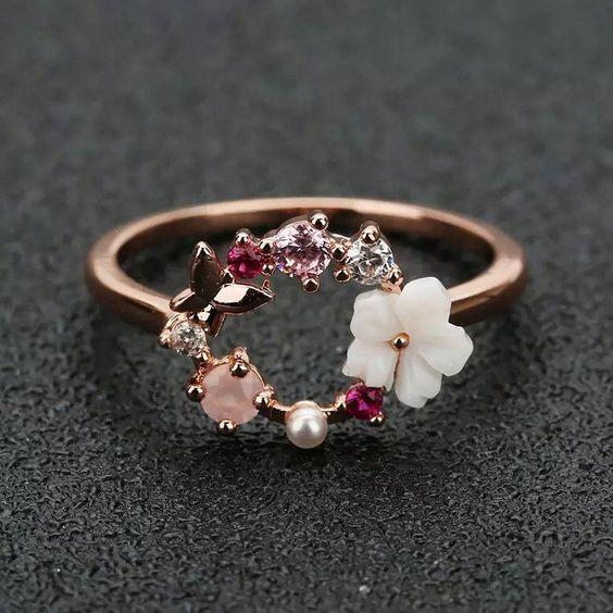 Fashion Creative Butterfly Flowers Crystal Finger Rings