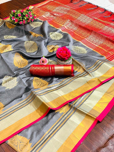 GREY COLOUR ORANGE SHADE WITH BEAUTIFUL AND ATTRACTIVE SAREE FOR WOMEN'S
