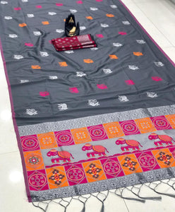 GREY COLOUR WITH BEAUTIFUL AND ATTRACTIVE SAREE FOR WOMEN'S