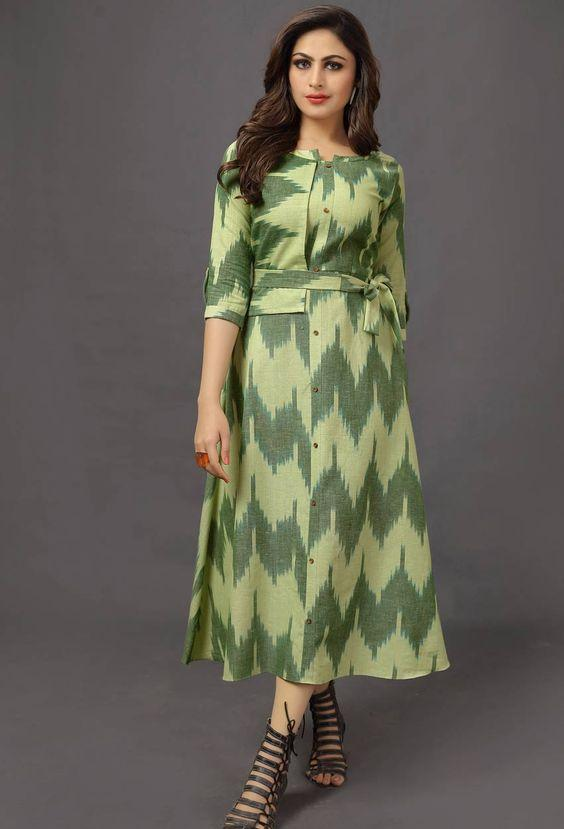 Green Cotton Party Wear