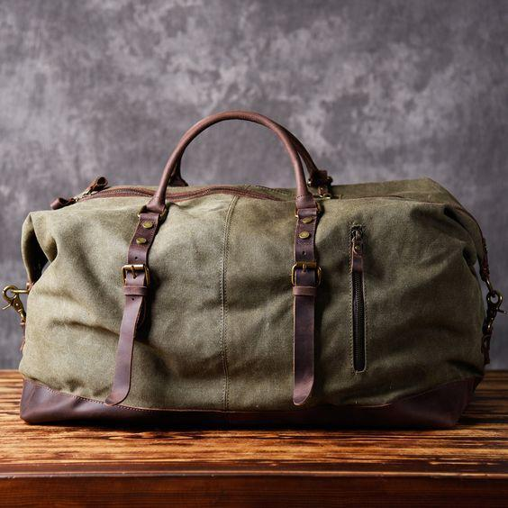 Handmade Waxed Canvas Leather Travel Bag