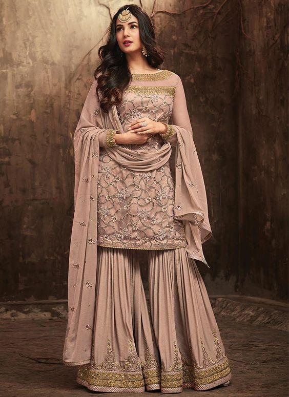 Light Mauve Embroidered Sharara Suit