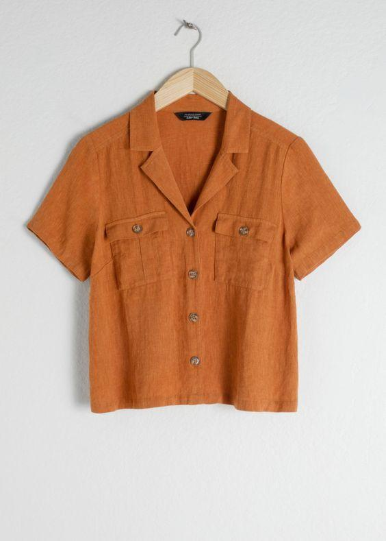 Linen Blend Button Up Shirt