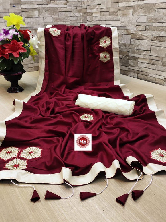 MAROON COLOR BEAUTIFUL AND ATRACTIVE LATEST SAREE
