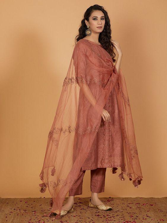Old Rose Printed Chanderi Kurta with Pants and Organza Hand Embroidered Dupatta- Set of 3 online