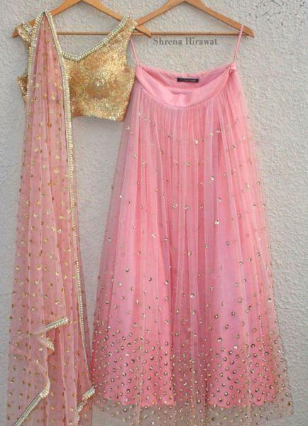 Pink and Gold Pearl Sequence Lehenga Set