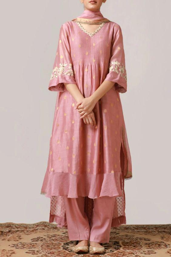 Pink asymmetric kurta with placement floral threadwork & pintuck bodice.