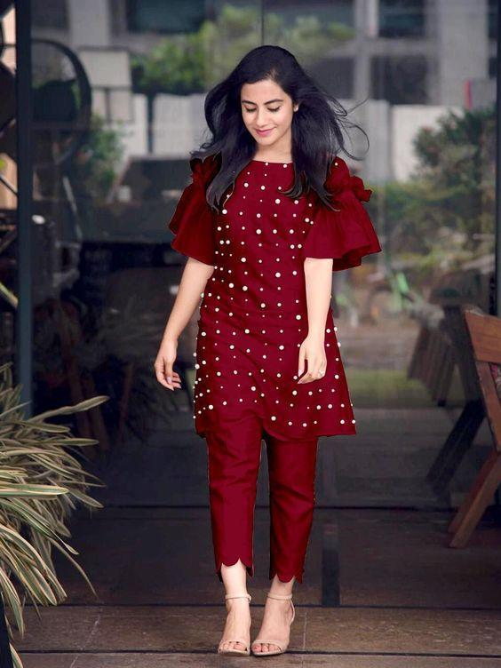 Presenting Maroon Kurti With Pant Exclusive Collection