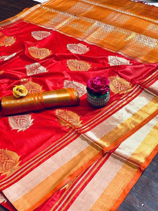 RED COLOUR ORANGE SHADE WITH BEAUTIFUL AND ATTRACTIVE SAREE FOR WOMEN'S