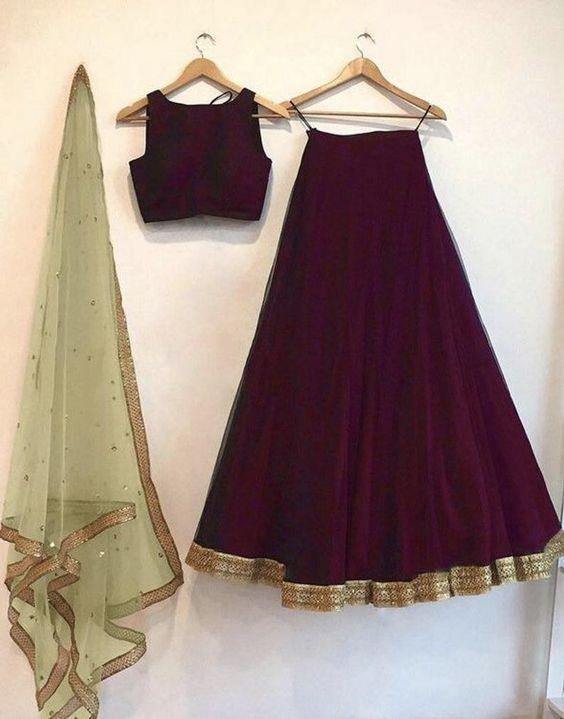 Red wine color lengha skirt and blouse crop top with contrast blush