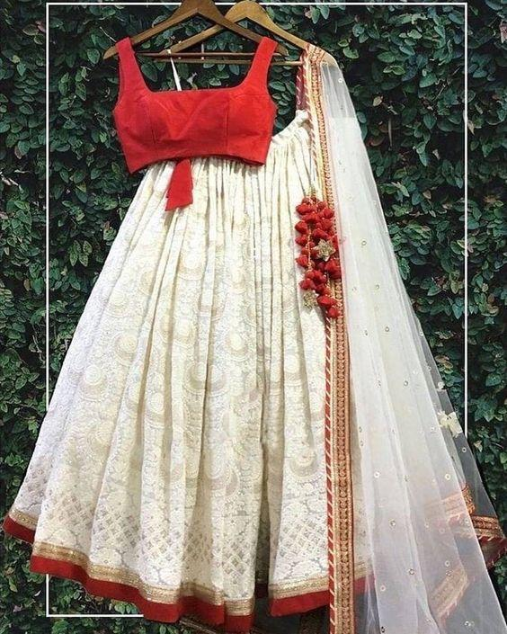 White and red chikankari thread work lehenga