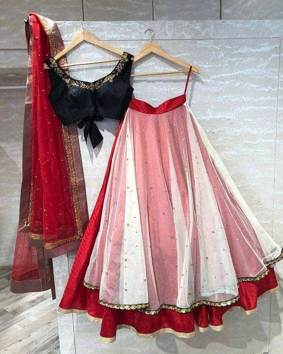 White red color designer organza pearl work lehenga choli with readymade blouse for women,