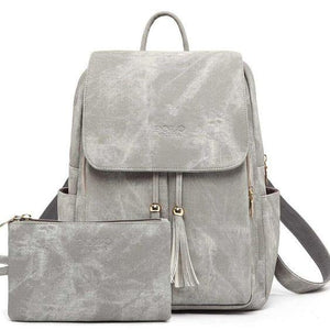 Women Backpack Youth Leather Backpacks + purse