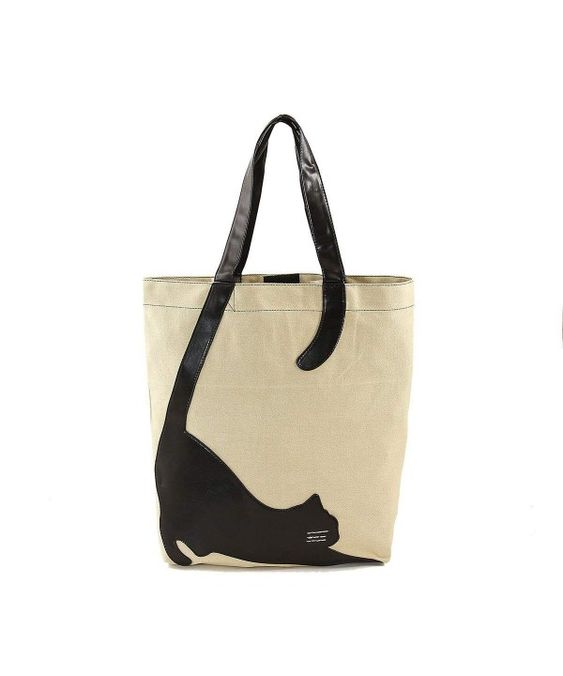 Women's Bags, Totes, Stretching Cat Silhouette On Canvas Tote Bag