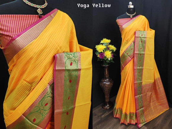 YELLOW WITH GREEN SHADE COLOUR WITH BEAUTIFUL AND ATTRACTIVE SAREE FOR WOMEN'S