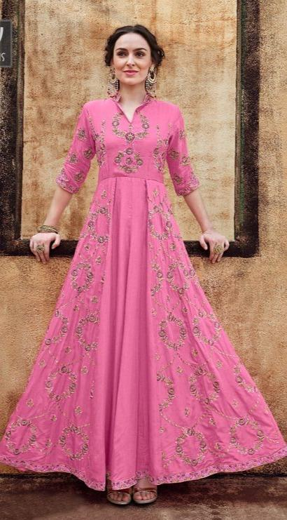 Amazing Pink Color Rayon Designer Party Wear Gown