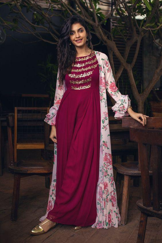 beautiful maroon indowestern