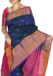 blue with pink handwoven soft silk saree with buttis,Royal blue