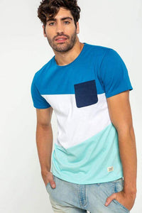 Men Patched Detail Colorblock Tee