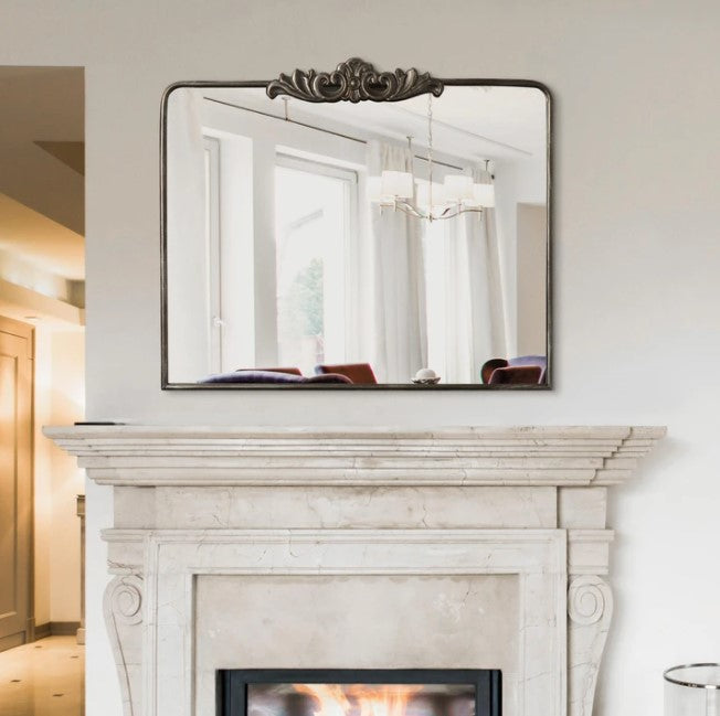 Antique Bronze Ornate Metal Accent Wall Mirror