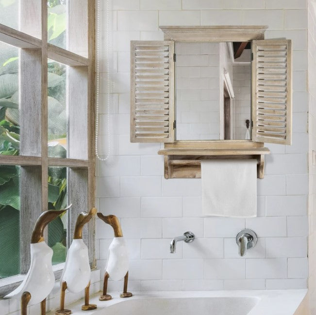 Rustic Wooden Dual Window Shutter Wall Mirror With Shelf And Rod