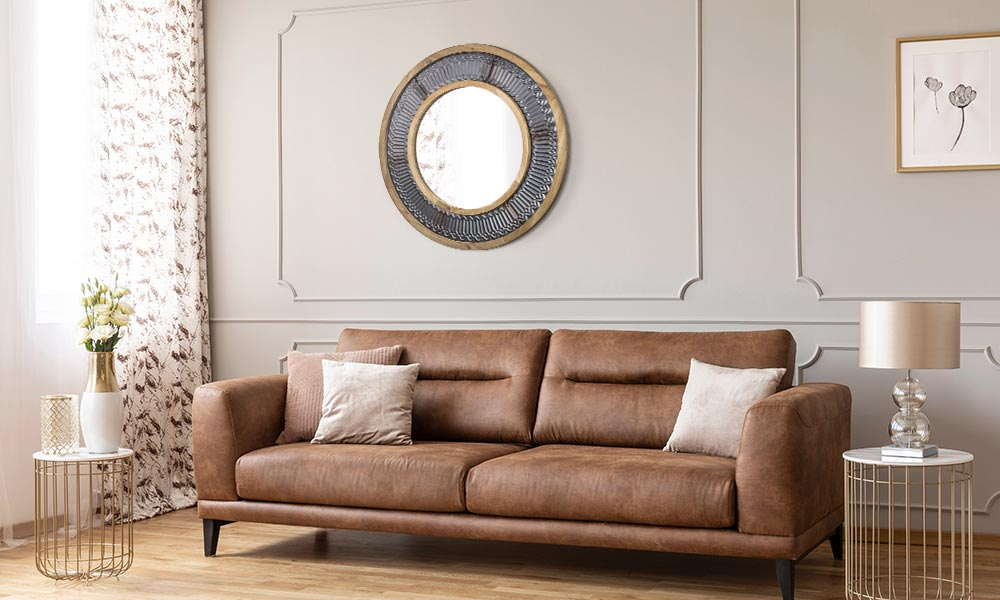 Fluted metal with dual rustic wood frame round wall accent mirror
