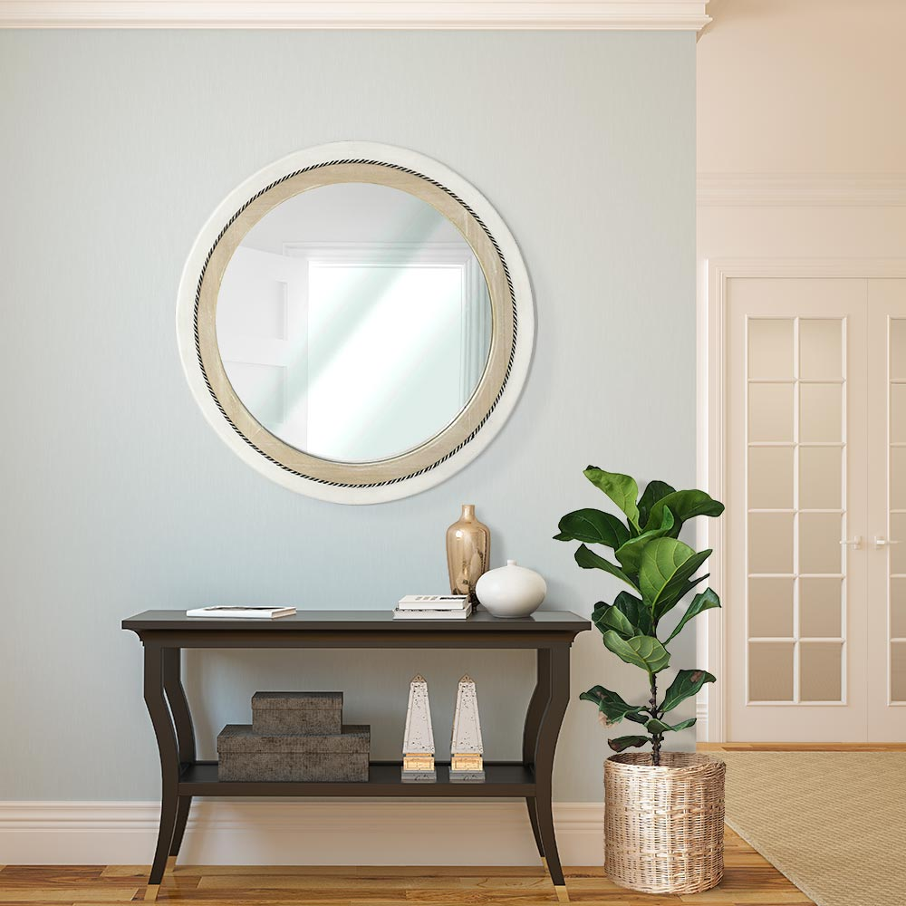 Rustic Whitewash and Neutral Wood Framed round wall mirror
