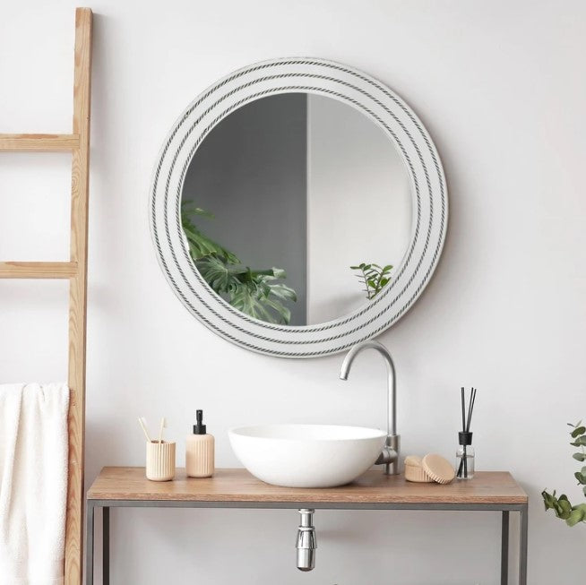 Rustic Whitewashed Wood Framed Round Wall Mirror With Inlaid Rope